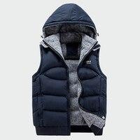 Модная куртка без рукавов для мужчин s утепленный хлопковый жилет шляпа с капюшоном Теплый жилет зимний мужской жилет для мужчин повседневн...