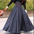Azul marinho de cintura alta de lã ocasional do vintage xadrez longas maxi saias para mulheres