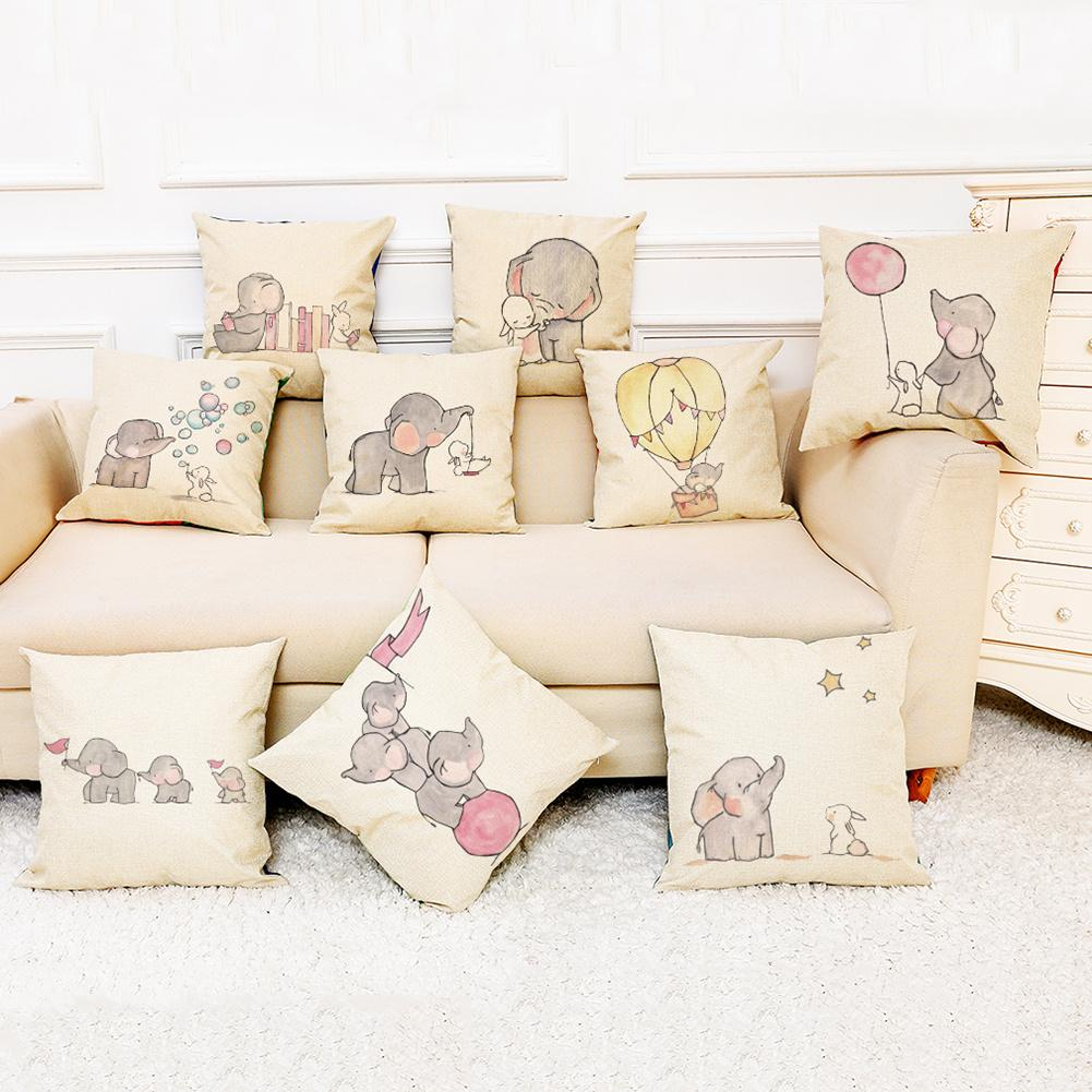 Lovely Cartoon Flying Balloon Elephant Hedgehog Deer Pattern Pillow Case Home Chair Car Sofa Decorative Cushion Cover 45x45cm