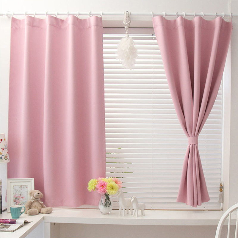 2017 new Korean solid color short blackout curtains for bedroom ...