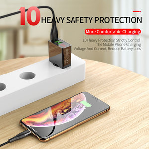 Image 3 - Màn Hình Hiển Thị LED EU 3 Cổng USB Sạc 3A Điện Thoại Di Động Sạc USB Sạc Nhanh Sạc Tường Cho iPhone 11 Samsung xiaomi Huawei