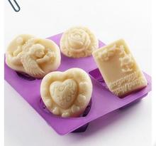 DIY four different kinds of silicone soap mold cake heart flower rose angel