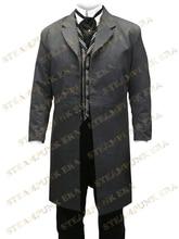 Free Shipping Cool Charcoal Gray Jazz Cloth Mens Long Coat