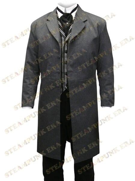 Free Shipping Cool Charcoal Gray Jazz Cloth font b Mens b font Long Coat