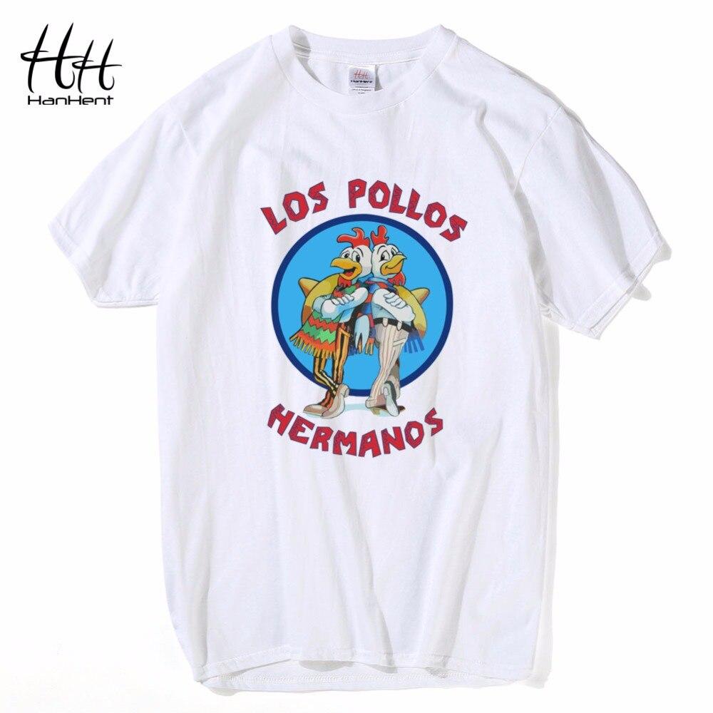 ef6a04395c HanHent Breaking Bad Los Pollos Hermanos Camisetas Homens Camisetas O  Pescoço Camisas de Algodão Conforto Macio Camisetas Streetwear camisetas