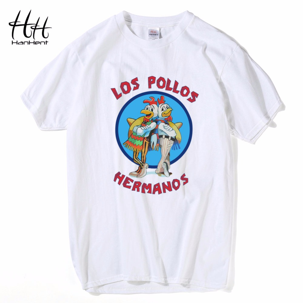 HanHent Los Pollos Hermanos T Shirts Men Breaking Bad T-shirts Comfort Soft O Neck Cotton Shirts Camisetas Tee shirts Punk Rock