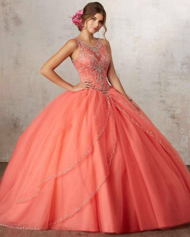 2f49f20194 Luxury Orange Quinceanera Dresses Ball Gown Beaded Rhinestones Sweet 16  Year Princess Dresses For 15 Years