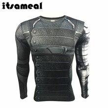 Itsameal Winter Soldier Bucky 3D Printed Men's T-Shirt long sleeve Civil War cosplay raglan male Tops fitness crossfit sportwear
