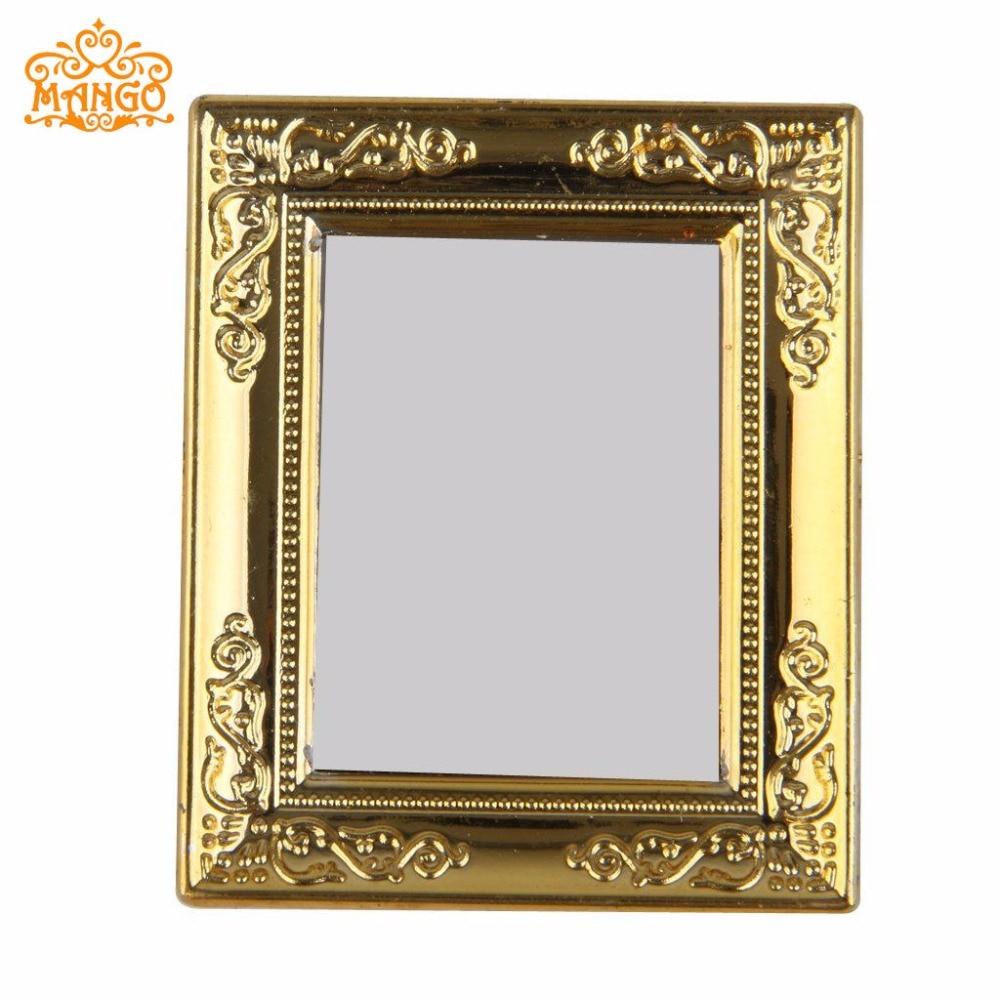 1:12 Dollhouse Miniature Gold Zarámovaná zrcadlová šířka 5,4 cm, výška 6,4CM