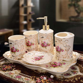 Bathroom Accessories Set Ceramic Soap Dish Soap Dispenser Toothbrush Holder Couple Cups Bathroom Hardware Set Wedding Gift