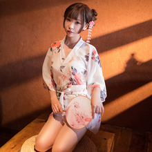 Yhotmeng 2019 new kimono sexy printed chiffon Japanese ladies nightgown sling straps with T-line underwear set