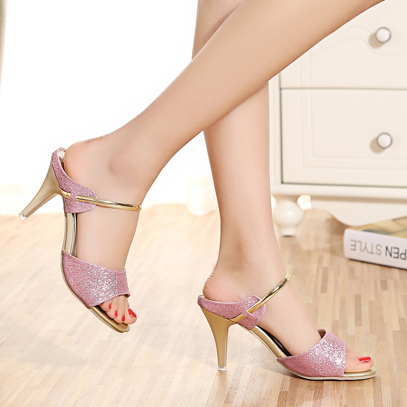 New High Heels Sexy Sandals Women Summer High Heel Fashion Shallow Fish Mouth Sandals Open Toe Slip On Bright Color Shoes Female