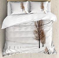 Фермерский дом Декор пододеяльник набор ряд больших и голых буковых деревьев в снежную погоду Замороженные фото 4 комплект постельного бел