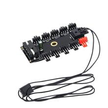 New Arrival PC Computer 1 to 10 Multi Way PWM Cooler Cooling Fan Hub 4/3Pin SATA/4Pin Socket