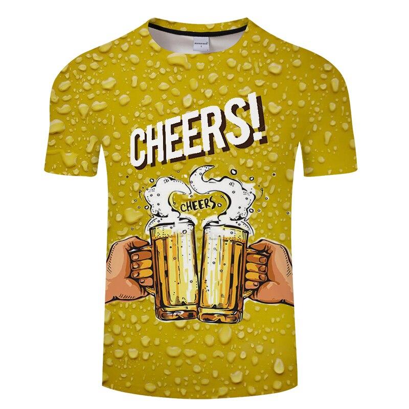 Zomer 2019 herenkleding merk o-hals klok jacket bier korte mouwen 3d t-shirt digital printing T-shirt Homme grote maat 5xl 4