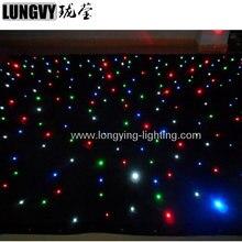 Ücretsiz Kargo 2 m * 4 m Led yıldızlı perde Led Yıldız Bez Dj Zemin Nişasta Düğün Dekorasyon Için Çin Depo sam