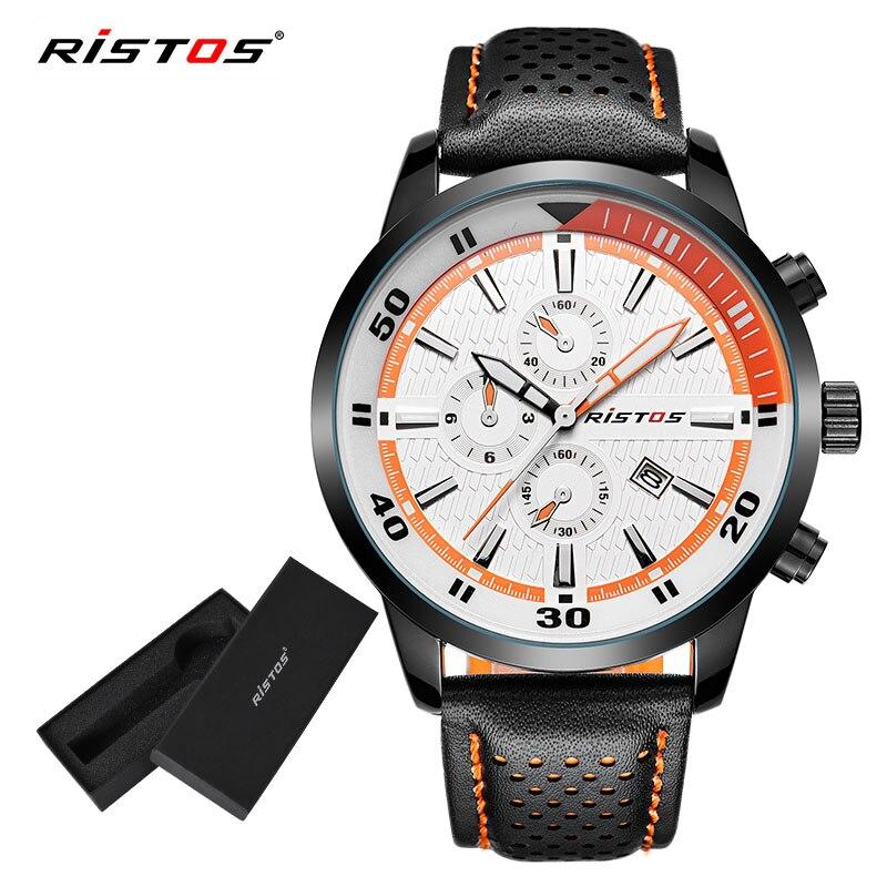182450e5a145 RISTOS militar moda Extreme Sport Reloj de cuarzo calendario Casual Relojes  de Cuero genuino Reloj Masculino Geek Reloj 93015 en Relojes de cuarzo de  ...