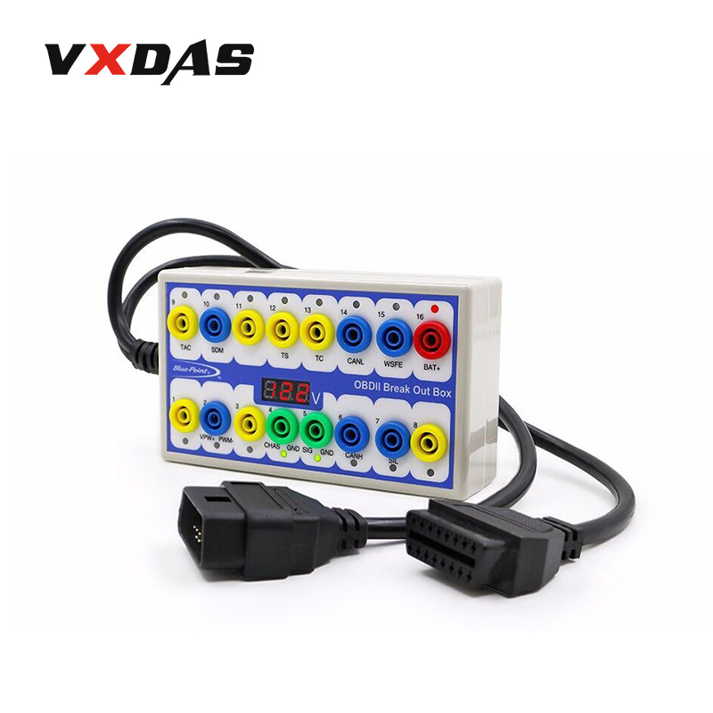 VXDAS OBD2 Breakout Box Analyzer OBDII Break Out Box Car Test Box Fault Diagnosis Scan Tool 16Ports Circuit Electrical Scanner