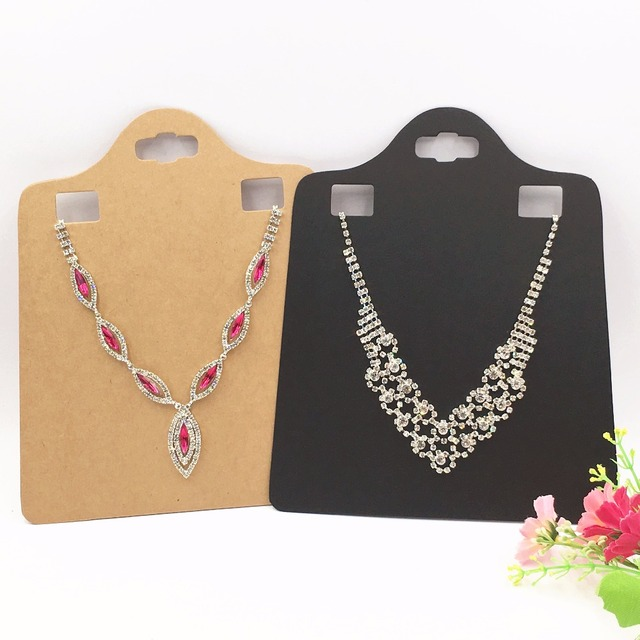 30pcs/lot Kraft Paper Blank Brown Pendant Card Big Size Necklace Cards Plain Jewelry Necklace Packaging Display Cards