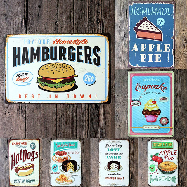 Food painting iron panel 20 30cm metal stickers tin signs for Plaque metal cuisine