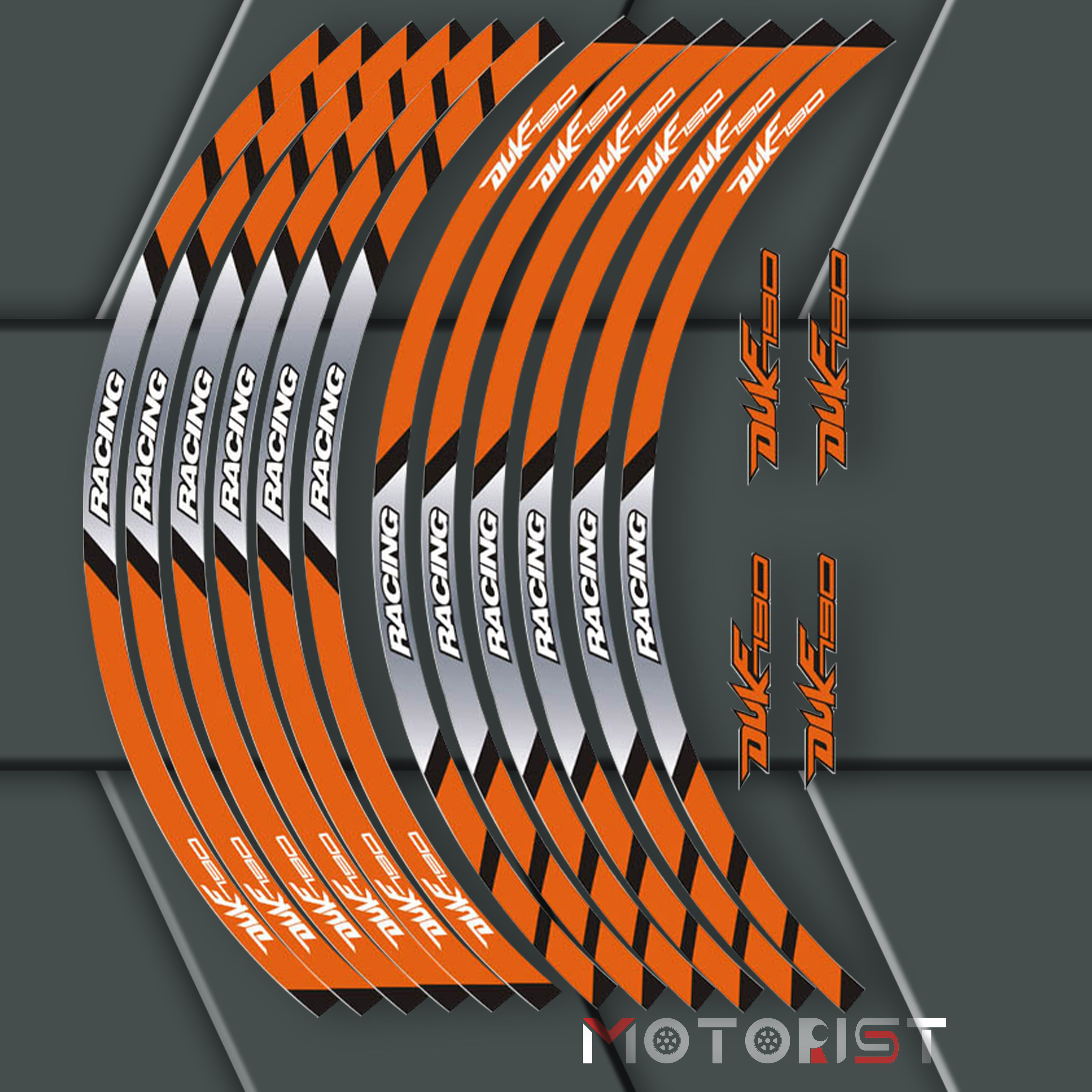 a set of 12pcs high quality motorcycle wheel decals waterproof Reflective <font><b>stickers</b></font> rim stripes For KTM <font><b>DUKE</b></font> 790 image