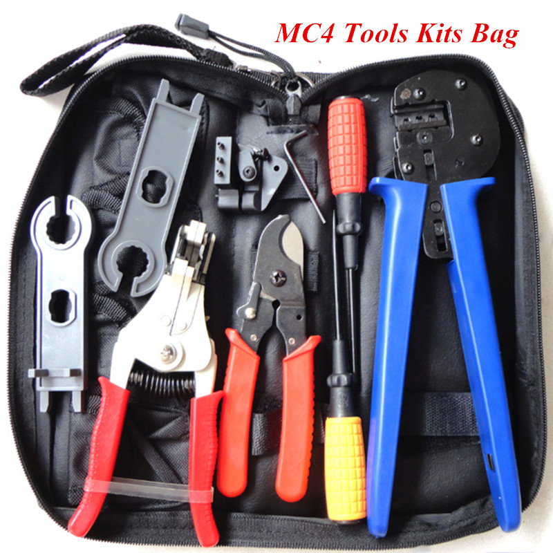 Solar Panel Installing MC4 Tools Kits Bag for 2.5/4/6mm2 with MC4 Crimper, DC Cable Stripper,Cutter,Test Leads-Oxford Bag Pack solar crimping tool kits with 2 5 6 0mm2 crimping tool mc3 mc4 crimping die solar tool set with mc4 mc3 crimper stripper cutter