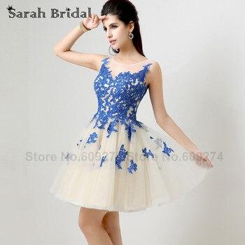 Royal blue short prom party dresses sheer lace applique 2017 real sample vestido de formatura cheap.jpg 350x350