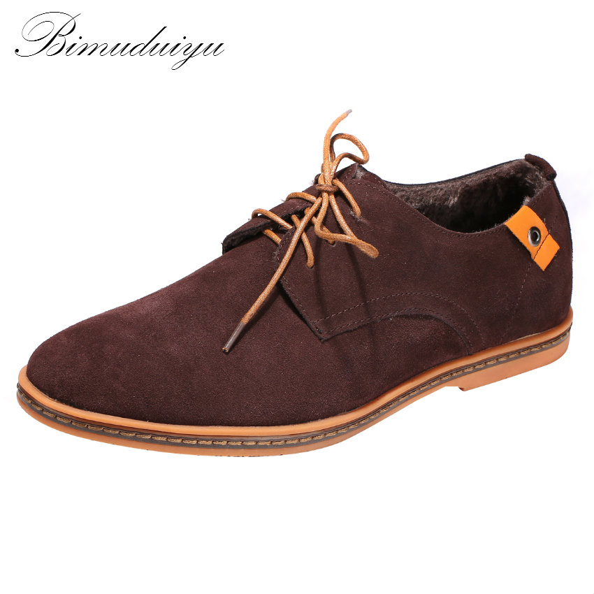 BIMUDUIYU Nubuck Leather Warm Plush Mens Flat Winter Velvet Shoes Casual Suede Leisure Luxury Brand Fashion Oxford Men Shoes