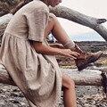 Vestido das mulheres Sólidos Hetero Mid-Calf Vestido Minimalista Outono Botão de Manga Curta de Algodão E Vestido De Linho Vestido платье 423
