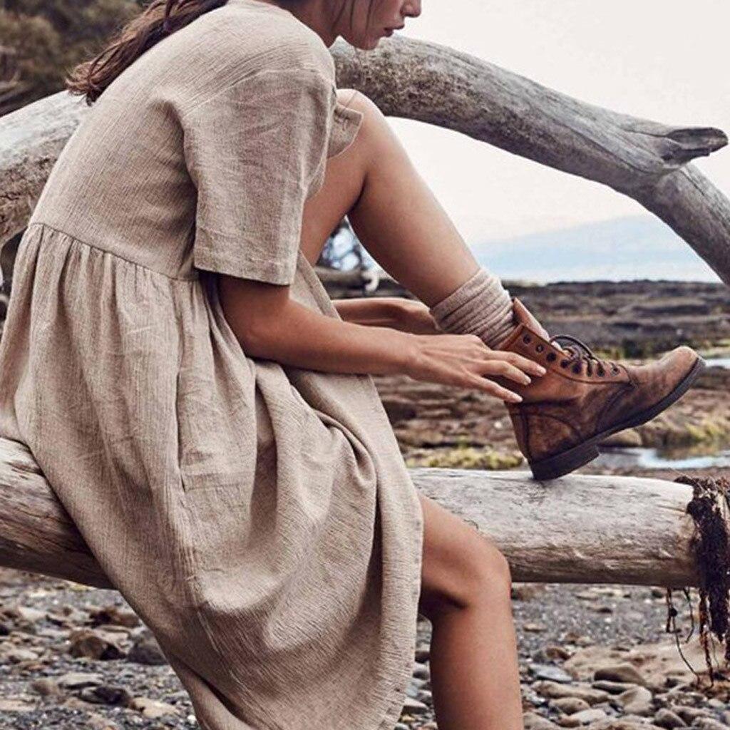 Women's dress Solid Straight Mid Calf Dress Minimalist Autumn Button Short Sleeve Cotton And Linen Dress Vestido платье 423