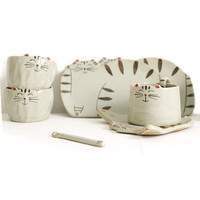Cartoon Cat Coffee Mugs Plate Handmade Tea Cups and Mugs Western Dinner Dish Tableware