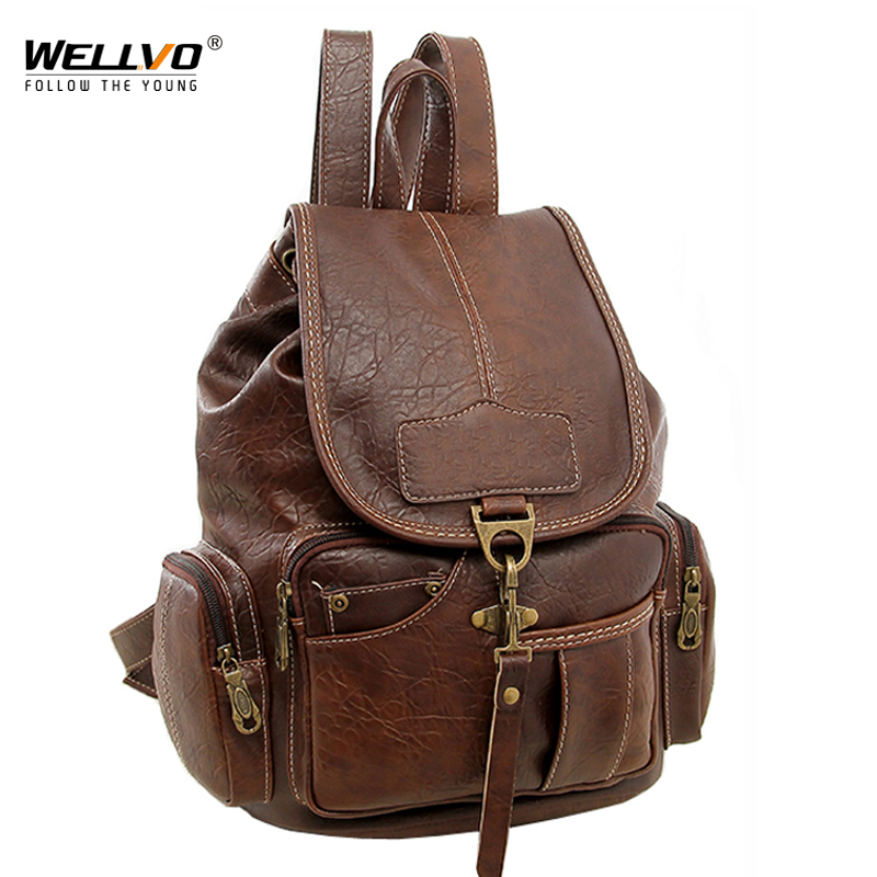 Wellvo Women PU Leather Backpack Fashion Vintage Backpacks for Teenage Girls Travel Bags High Quality Rucksack mochila XA1697C