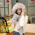New Arrival Women Winter Fur Plush Hoodie Cap Earflap Scarf Hat Glove Set Long Scarf Shawl Wrap Gloves Sets 200*16cm