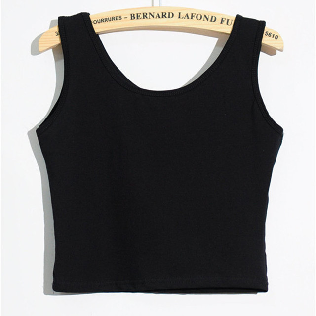 Womens Ladies Super Stretch 3 Colors Solid Cotton Black White Gray Cropped Tank  Top Women Fitness Clothing Workout Tops One Size 8fd3dff04