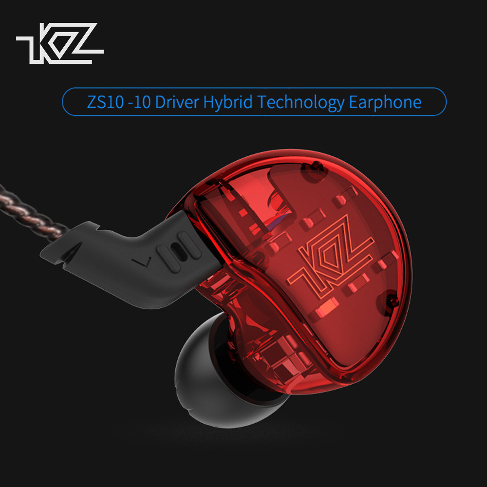 KZ ZS10 Ten Driver Headphones In Ear Earphones 4BA+1Dynamic Armature Earbuds HiFi Bass Sport Headset Noise Cancelling with Mic new original kz ate s in ear earphones hifi kz ate s stereo sport earphone super bass noise canceling hifi earbuds with mic