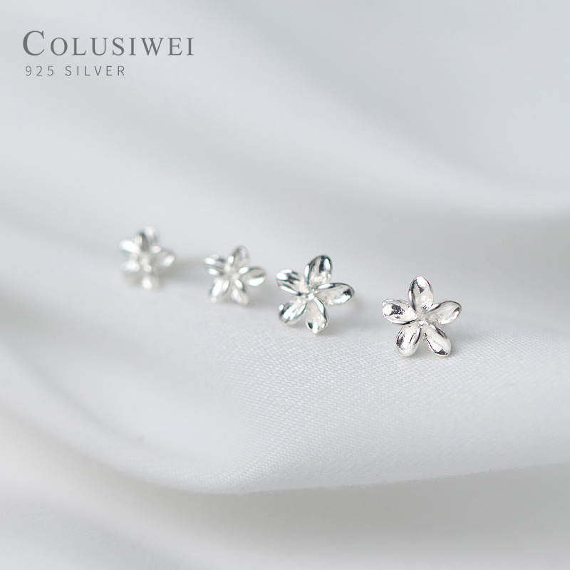 Colusiwei Frangipani Plant Stud Earrings Genuine 925 Stelring Silver 3 Size Cute Flower Ear Studs Korean Style Fine Jewelry