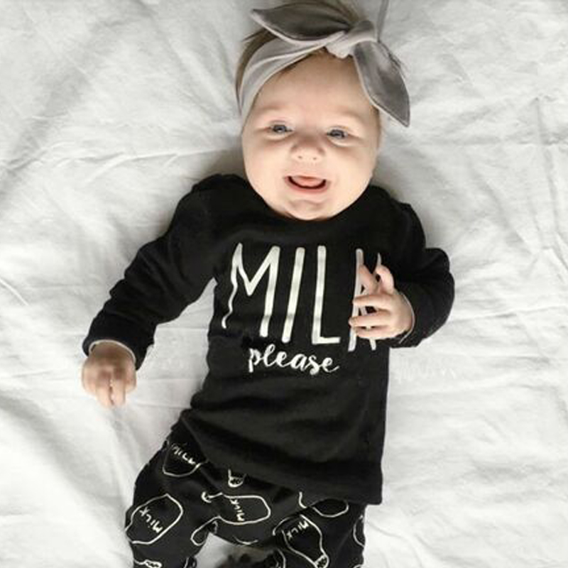 2018 Autumn Fashion Baby Girl Clothes Unisex Cotton Long-Sleeved T-Shirt + Letter Milk Newborn Baby Clothes Set
