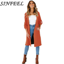 SINFEEL Women Elegant Trench Coat Long Sleeve Spring Autumn Fashion Street Wear Korean Femme Outwear Casaco Feminino