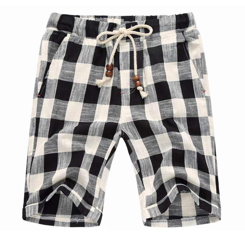 Plaid Summer Casual Shorts Men Drawstring Mens Linen Shorts Beach Fashion Bermuda Breeches Cotton Loose Male Trousers Dungarees