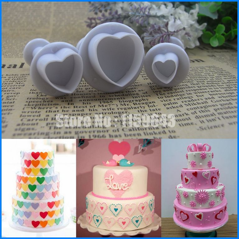 Love Heart Shaped Fondant Icing Cutter Plunger Cake Wedding Cupcake