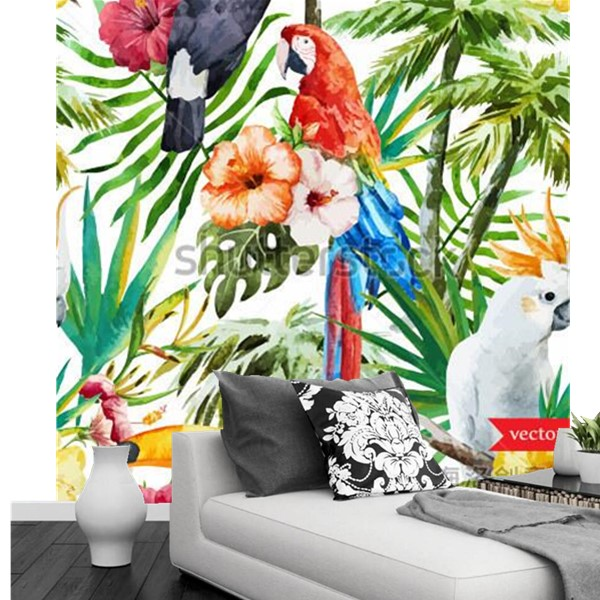 Custom 3d murals,The jungle toucans watercolor painting papel de parede,hotel bar living room sofa TV wall bedroom wallpaper худи print bar jungle