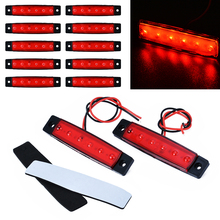 For Car Truck Lorry Bus 10pcs 24V 6LED Side Marker Indicators Light Red Trailer Rear Lamp ONSALE