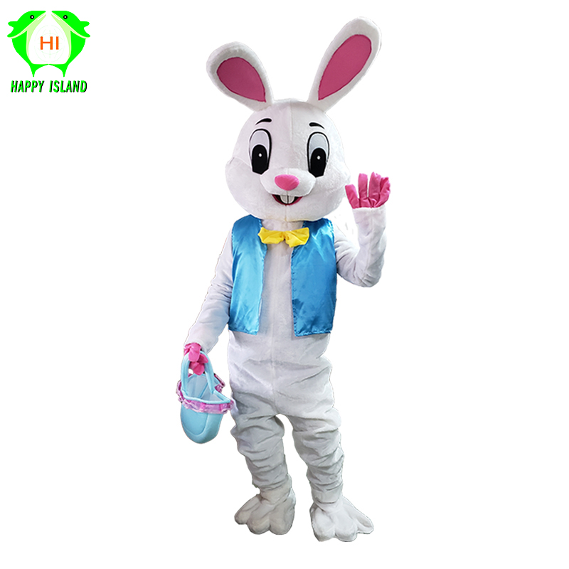 2019 Adult Rabbit Cosplay Costume Easter Bunny Mascot Costume Unisex Animal Carnival Party Suit Performance Clothing For Holiday
