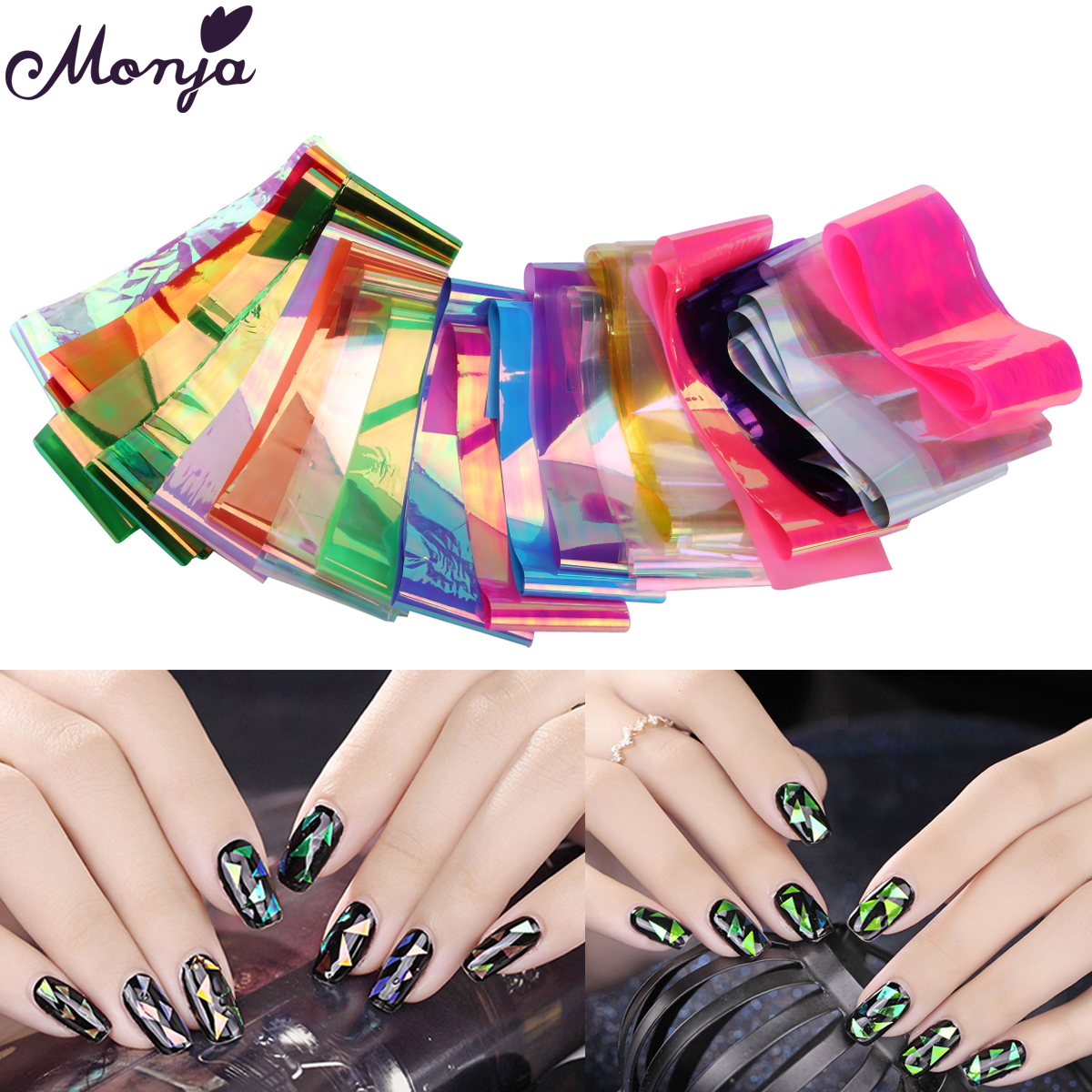 цены  20 Colors Holographic Broken Glass Mirror Nail Art Laser Stickers Glitter Tips Irregular Transfer Foils DIY Decorations Decals