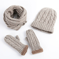 2016 New Fashion Knitted Beanie Plus thick velvet Hat Scarf Gloves Set Wiomen Winter Scarves 3 Pieces Set Women Beanies Gorros