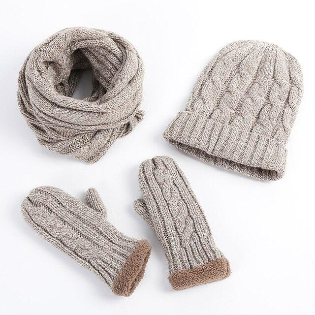 Nueva llegada de alta calidad moda invierno mujeres engrosamiento Knited  bufanda sombrero conjunto 2773a75833c