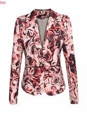 Nuevo Impreso Blazer Talles para Las Mujeres Escudo Elegante Estampado de flores Blazers Casual Traje Chaqueta Escudo Chaquetas Mujer Outwear YC001005