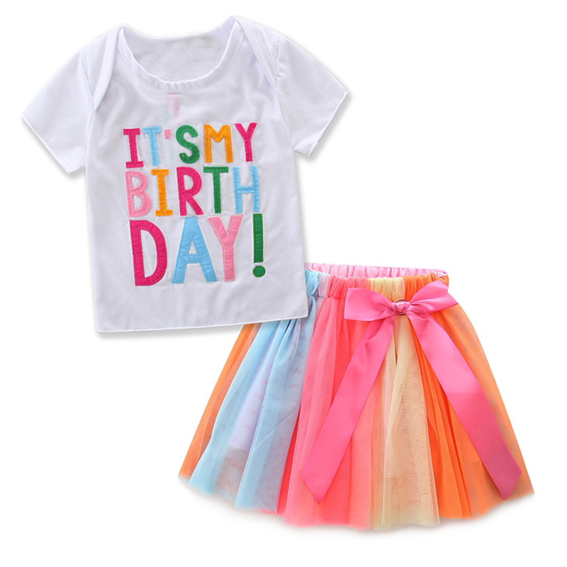 Baby Girls Birthday Outfit Set Letters T-shirt + Colorful Rainbow Tutu Skirts Children Clothing Kids Tracksuit for Girls Clothes 2pcs children outfit clothes kids baby girl off shoulder cotton ruffled sleeve tops striped t shirt blue denim jeans sunsuit set