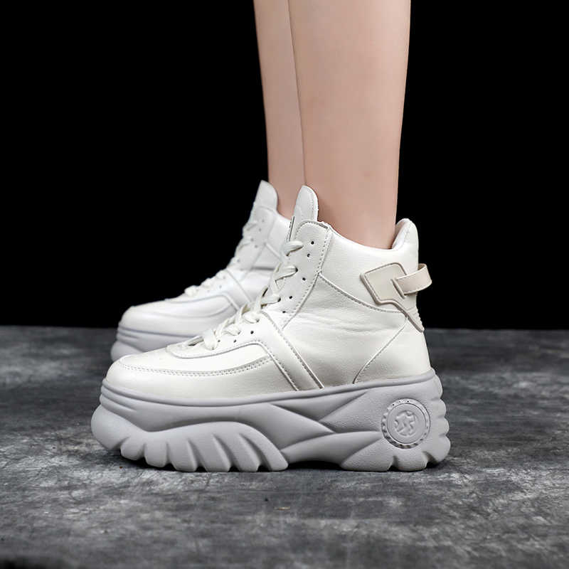 b20b00172a5 Woman Chunky Sneakers High Heels Shoes 2019 Spring Female Casual Shoes High  Top Platform Sneakers For Women White/Black Sneaker