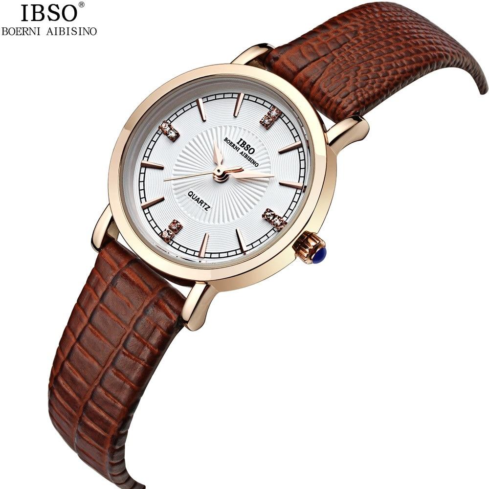 ФОТО Classic 2017 Ladies Wrist Watches Rhinestone Genuine Leather Women Dress Watch Brand Waterproof Analog Quartz Female Clock Brown